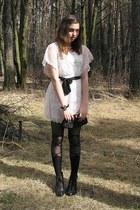 ivory romwe dress - black romwe tights - black vintage bag - black H&M wedges -