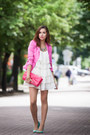White-unknown-dress-hot-pink-from-germany-blazer-hot-pink-h-m-bag