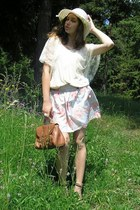 tawny H&M shoes - eggshell from France hat - tawny new look bag - off white Atmo