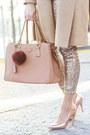 Camel-orsay-coat-gold-h-m-leggings-light-pink-primark-scarf-nude-f-f-heels