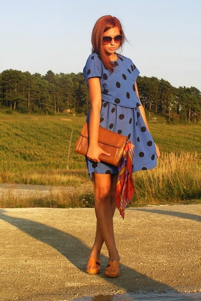 brown Salvatore Ferragamo bag - blue vintage dress - orange unknown clogs