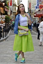 chartreuse Sheinside skirt - blue Orsay shirt - silver Cache Cache bag