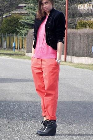 bubble gum second-hand sweater - black new look blazer - salmon H&M pants - blac