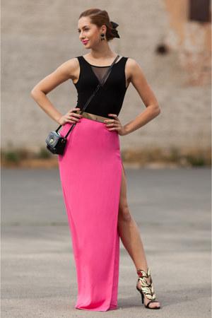 black vintage bag - black OASAP heels - black Fashionhousecz belt