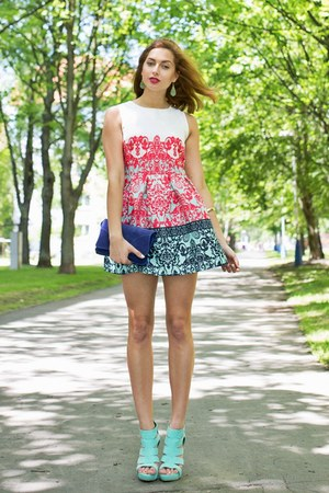aquamarine new look heels - white Fashionhousecz dress - navy Camaïeu bag