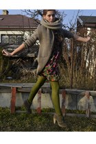 olive green Gate shoes - olive green next dress - camel Zara coat