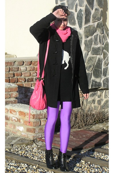 black H&M shoes - black fishbone coat - black with unicorn F&F sweater - amethys
