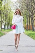 light blue Mohito skirt - white reserved shirt - hot pink H&M bag