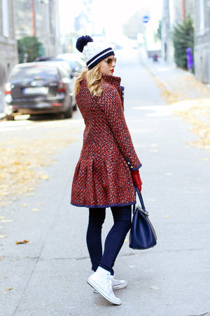 navy Orsay jeans - red Sheinside coat - navy Tommy Hilfiger shirt