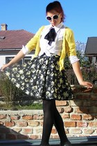white F&F glasses - black worn as skirt Atmosphere dress - yellow romwe sweater