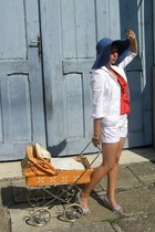 navy reserved hat - white Orsay blazer - brown straw second hand bag - white F&F