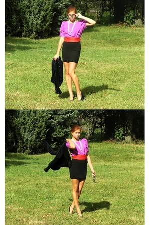 black new look blazer - coral vintage scarf - black c&a skirt