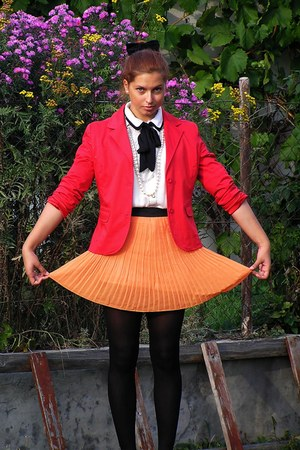 red From second-hand blazer - orange romwe skirt - white romwe blouse