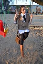 tawny New Yorker boots - light brown H&M sweater - black leggings - white H&M sh