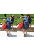 blue new look shirt - red vintage scarf - red vintage bag - black second-hand su