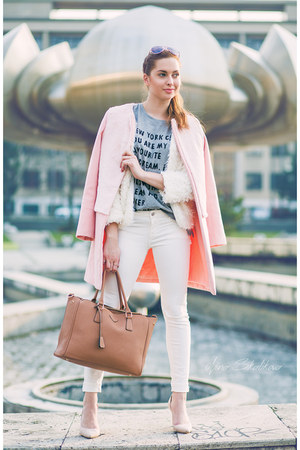 white Sheinside coat - light pink OASAP coat - white Primark jeans