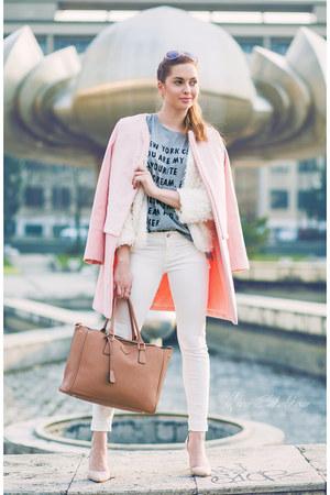 white Sheinside coat - light pink OASAP coat - white Primark jeans