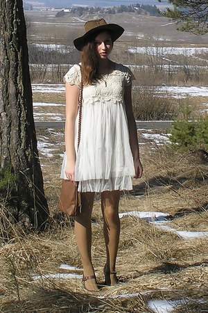 brown F&amp;F shoes - ivory romwe dress - dark brown daddys hat - tan Bepon tights -