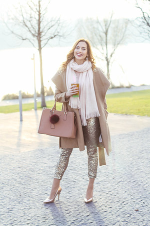 gold H&M leggings - camel Orsay coat - light pink Primark scarf - nude F&F heels
