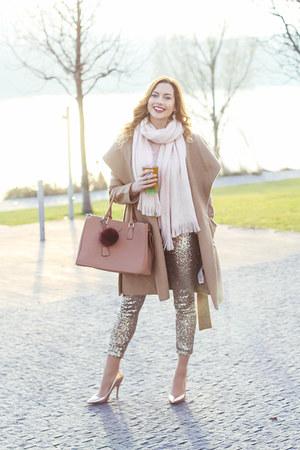 gold H&M leggings - camel Orsay coat - light pink Primark scarf - nude F&F heels
