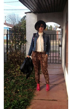 cream silk blouse - red leather custom made boots - black wool hat