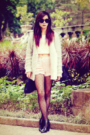 black Alexander Wang bag - light pink velvet Topshop shorts