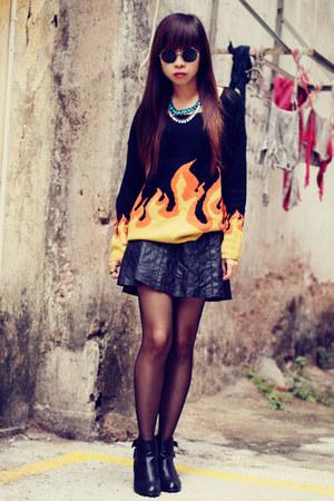 asos boots - Bershka skirt - H&M necklace