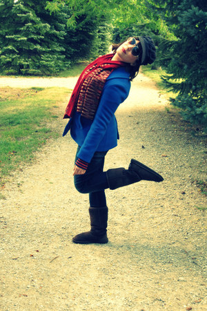 brick red Fraas scarf - dark brown Ugg boots - blue J Crew coat