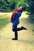 brick red Fraas scarf - dark brown Ugg boots - blue J Crew coat