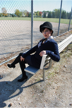 black delias hat - black Target socks - blue banana republic blouse