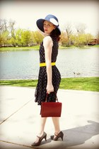 red leather vintage bag - navy and yellow banana republic dress