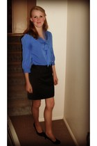 blue tie blouse banana republic blouse - banana republic skirt - Cole Hann pumps