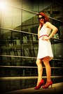 White-the-limited-dress-black-banana-republic-sunglasses-red-target-heels