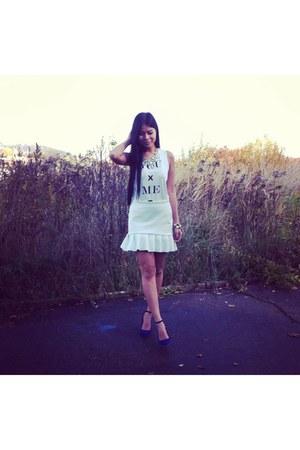 ivory Bershka shirt - navy Zara shoes - eggshell Promod accessories