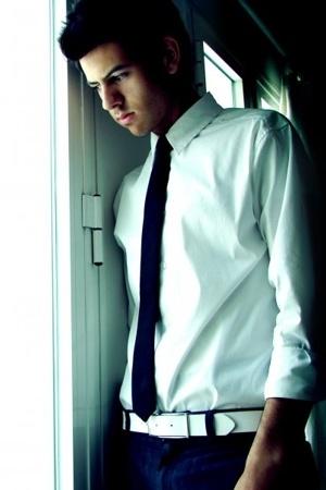 shirt - tie - belt - Gap pants