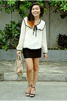 ivory big collar China blouse - black floral strap China wedges