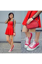 lace China dress - sling bag Lacoste bag - chuck taylor Converse sneakers