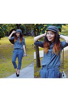 heather gray denim Koppahl top - heather gray trousers China pants