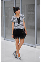 black black and white China wedges - white stripes H&M top