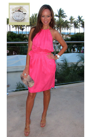 hot pink silk Rebecca Taylor dress - beige snakeskin Lauren Merkin bag