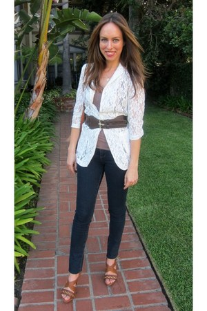 white lace Gracia blazer - navy Forever 21 jeans - brown Forever 21 belt