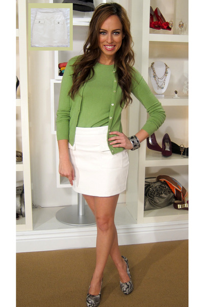 Chartreuse BCBG Cardigans, White Leather Skirt Forever 21 Skirts ...