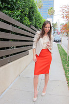 carrot orange pencil skirt J Crew skirt - neutral metallic Zara blazer