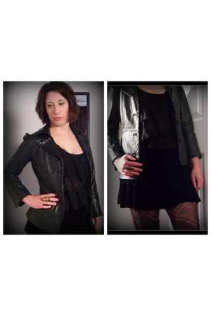 faux leather unknown jacket - uknown tights - black velvet unknown skirt