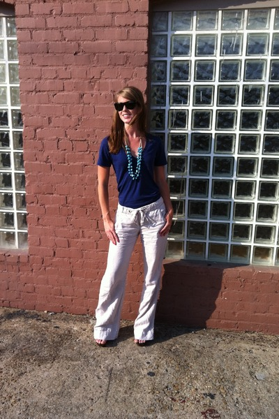 Prada sunglasses - J Crew pants - tribal wooden Ana Michele heels