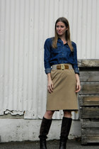 Nine West boots - banana republic shirt - The Limited - thrifted skirt