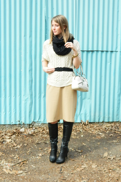 consigned bracelet - bcbg generation boots - H&M scarf - thrifted belt