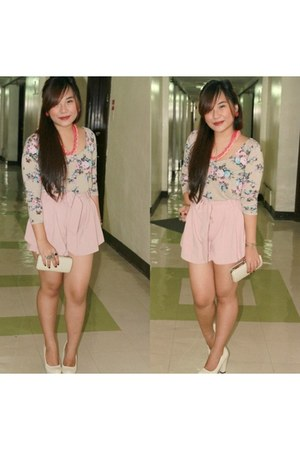 new look top - Pink Manila shorts - Forever 21 earrings - MNJ pumps
