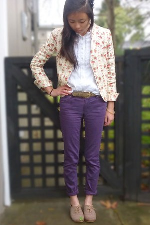 neutral floral blazer vintage blazer - purple purple jeans evolution jeans