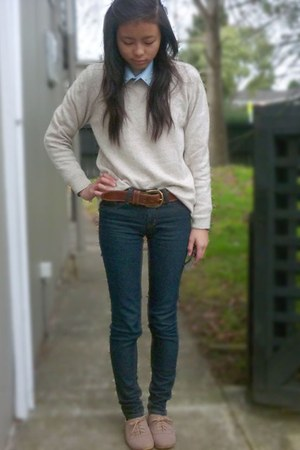 tan taupe sweater vintage sweater - sky blue DIY tie